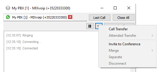 Active call transfer